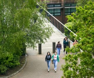 Stranmillis College grounds students walking