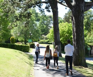 Stranmillis College grounds pathway with students walking